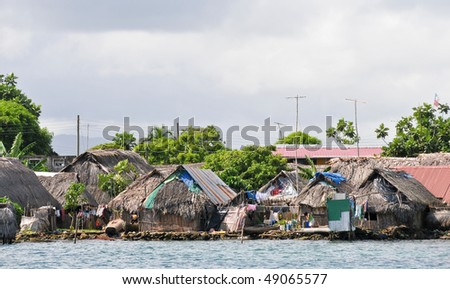 Bamboo houses on San Blas island - stock photo