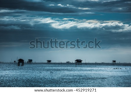 Bamboo hut at sea
