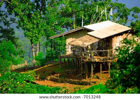 Bamboo hut on mountainside in Thailand hill tribe