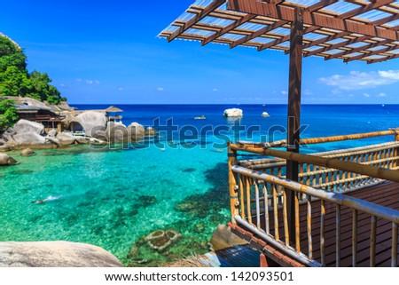 Bamboo hut over crystal clear sea, Koh Tao, Samui, Thailand - stock photo