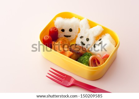 bamboo japanese lunch box and chopsticks - stock photo