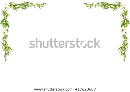 Bamboo leaves frame isolated on white background - stock photo