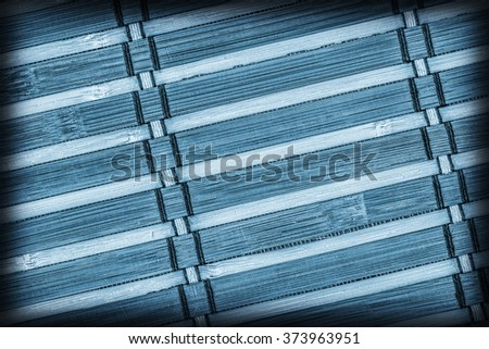 Bamboo Mat, Bleached and Stained Blue, Vignette, Grunge Texture Sample.