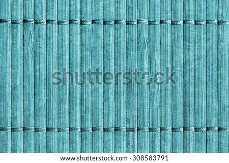 Bamboo Mat Handiwork, Bleached and Stained Cyan, Grunge Texture Sample.
