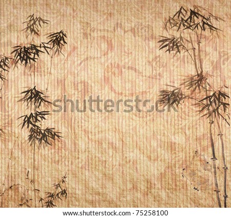 bamboo on antique paper texture - stock photo