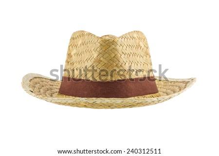 bamboo panama hat isolated on white background - stock photo