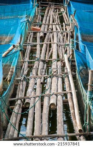 Bamboo pathway and blue net of Nile Tilapia Fish farms - stock photo