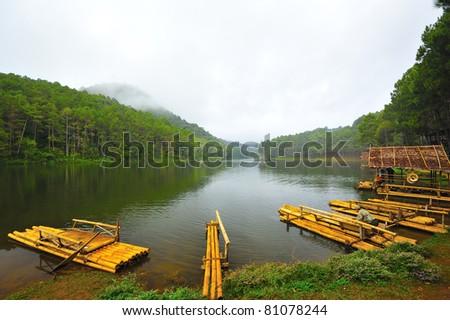 Bamboo pier at Pang-ung lake, Maehongson, Thailand - stock photo
