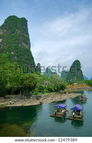 Bamboo raft at the Li river near Yangshuo, Guanxi province, China - stock photo