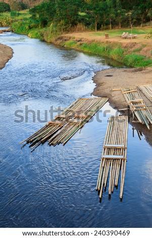 Bamboo rafting at Pai River. - stock photo