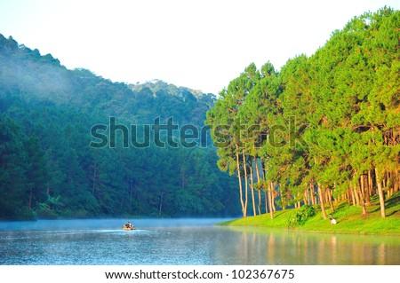 Bamboo rafting at Pang-ung lake, Maehongson, North Thailand - stock photo