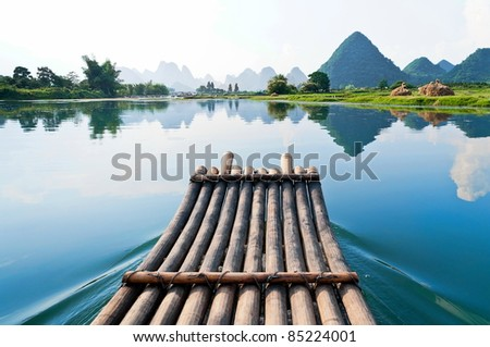 Bamboo rafting in Li River, Guilin - Yangshou China - stock photo