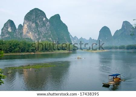 Bamboo rafts at the Li river near Yangshuo, Guanxi province, China - stock photo