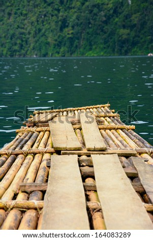 Bamboo rafts in Cheow Lan lake, Khao Sok National Park, Thailand - stock photo