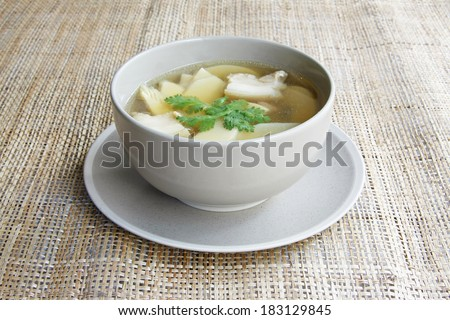 Bamboo Shoot boiled with pork,Bamboo soup  with pork. - stock photo