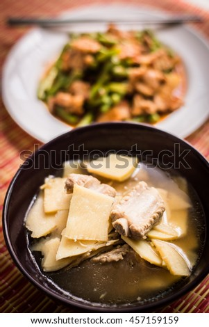 Bamboo Shoot boiled with pork bones