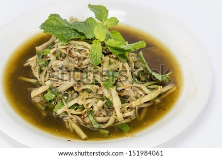 Bamboo Shoot Salad Northeastern Style, Soup Nor Mai