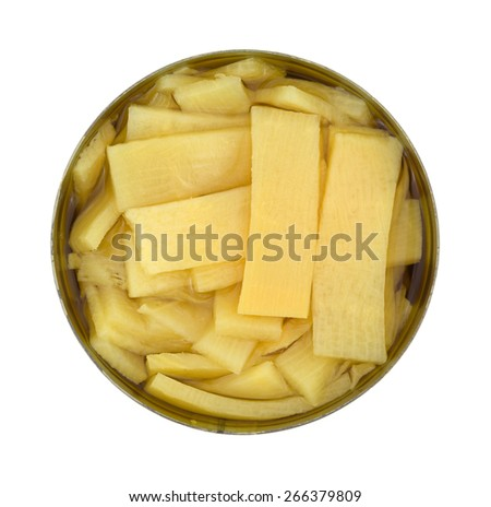 Bamboo shoots packed in water in can on white background. - stock photo