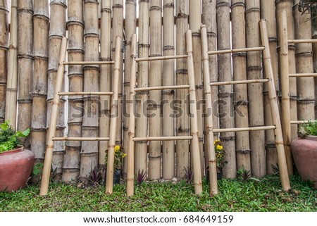 Bamboo Stairs And Bamboo Fence Background.
