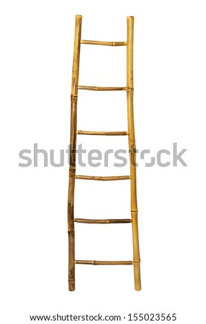 Bamboo stairs isolated on white background  - stock photo