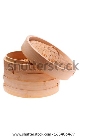 Bamboo Steamer isolated on white background  - stock photo