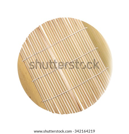 Bamboo straw serving mat isolated on white background. - stock photo