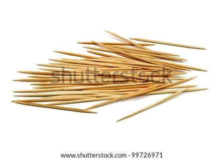 bamboo toothpicks isolated on white background - stock photo
