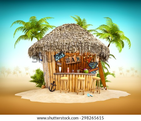 Bamboo tropical bar on a pile of sand. Unusual travel illustration - stock photo