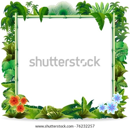 Bamboo Tropical Jungle Background - stock photo