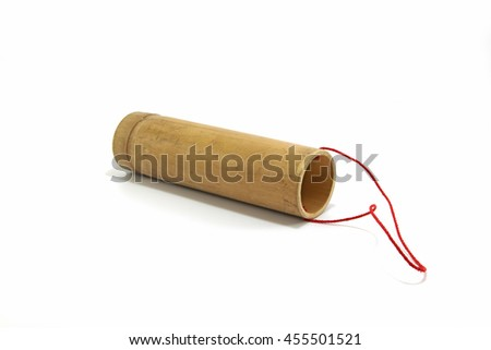bamboo tube for drink water on white background