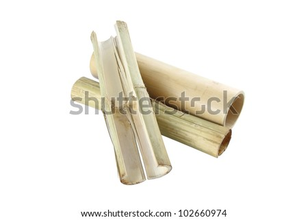 Bamboo tube for rice steam on white background.
