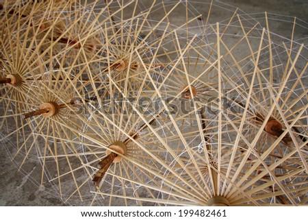 bamboo umbrella - stock photo