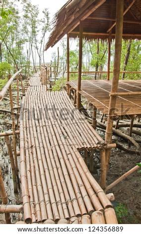 Bamboo walkway in Mangrove forest at Petchabuti, Thailand - stock photo