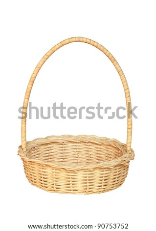 Bamboo weave basket isolated on white background