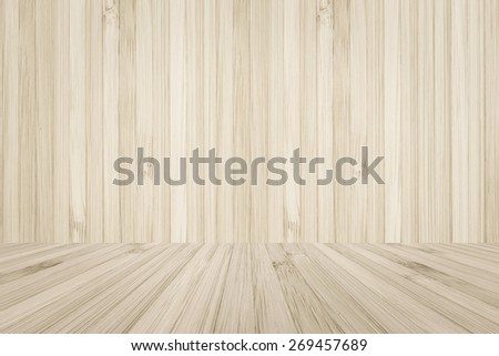 Bamboo wood texture wall and floor background for interiors - stock photo