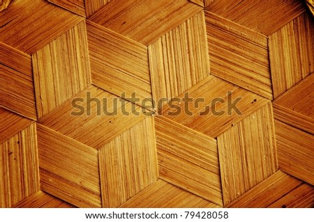 Bamboo wooden texture hexagon shape style background - stock photo