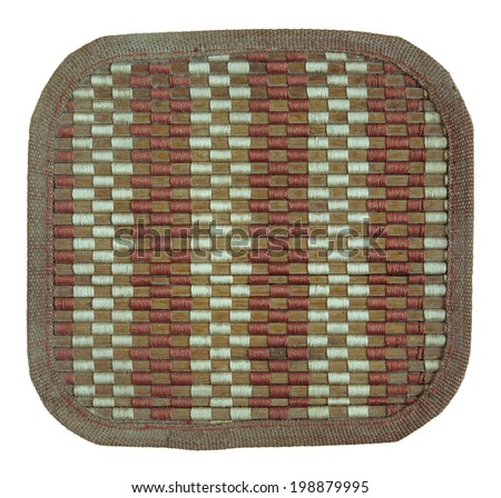 bamboo woven mat isolated on white with clipping path