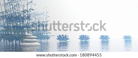 Bamboos and lily flowers on water by beautiful white foggy day - stock photo