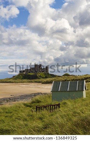 Bamburgh Castle in Northumberland from the beach