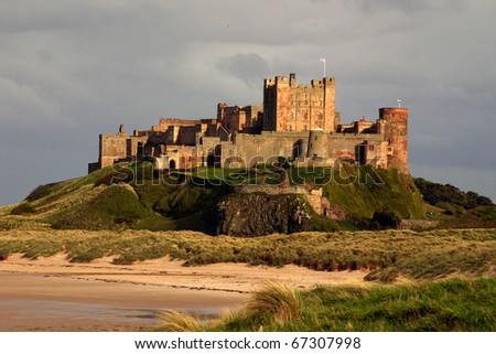 Bamburgh castle, Northumberland taken from the North looking South. - stock photo