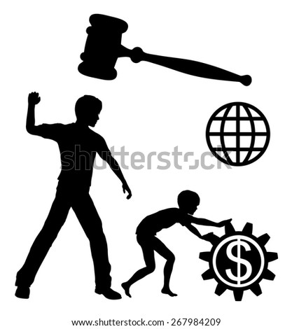 Ban Child Labor. Child laborers being abused by business and industries in order to yield high profits must be prohibited by law worldwide - stock photo