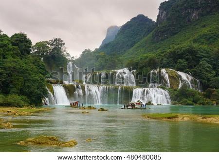Ban Gioc - Detian waterfall at sunset in Cao Bang province, Vietnam.