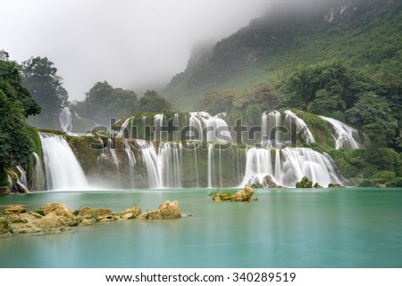 Ban Gioc Waterfall on the Quy Xuan River is located in Cao Bang Province,nears the Sino-Vietnamese border. The waterfall falls thirty meters. Located in Northern of Vietnam