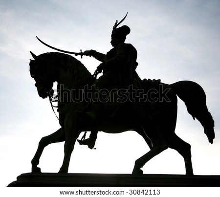 Ban Josip Jelacic and horse silhouette in evening sky on the main square in Zagreb, Croatia