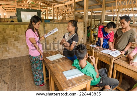 BAN NAI SOI, MAE HONG SON PROVINCE, THAILAND - OCTOBER 21: Learning and Teaching For disadvantaged students In rural areas Mae Hong Son province, October 21, 2014. - stock photo