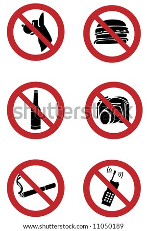 Ban signs on dogs, smoking, food, drinking, camera, mobile