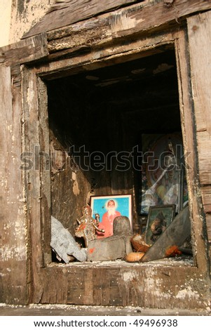 Banaganga Tank in the slums of the city Mumbai, India - stock photo