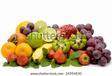 Banan, kiwi and strawberry isolated on a white background