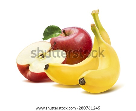 Banana and apples square composition 2 isolated on white background as package design element - stock photo