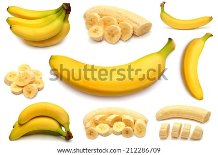 Banana and collection of different bananas isolated on white background - stock photo
